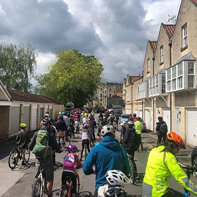 Taking part in the Kidical Mass Cycle Ride in Bath
